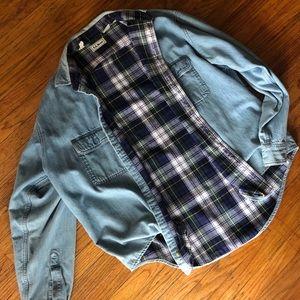 Vintage L.L. bean denim reversible grunge jacket